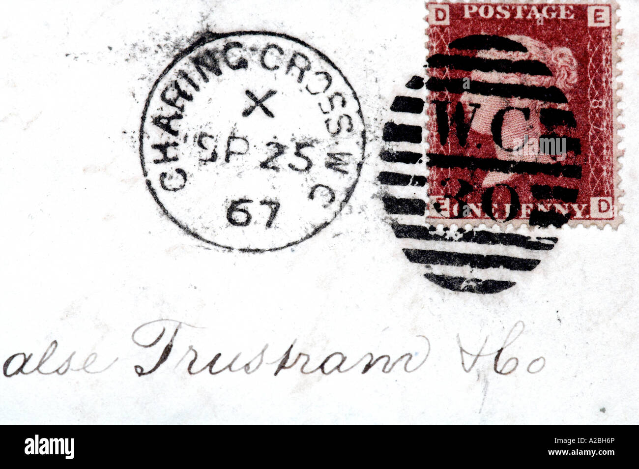 Penny Red Postage Stamp on 1867 Envelope - Stock Image