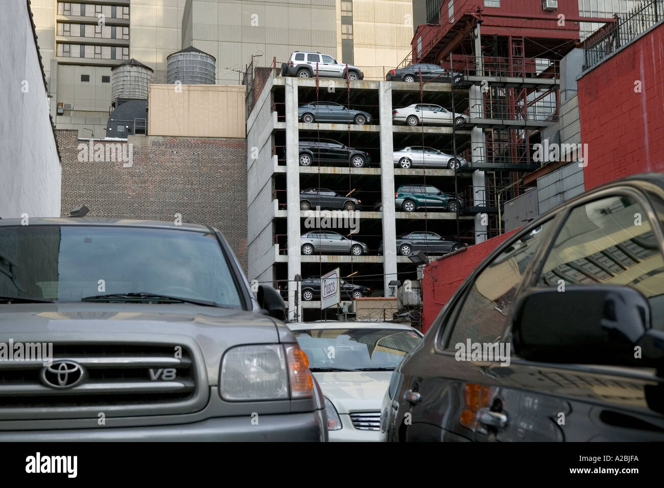 New York vertical car parking system USA 2005 - Stock Image