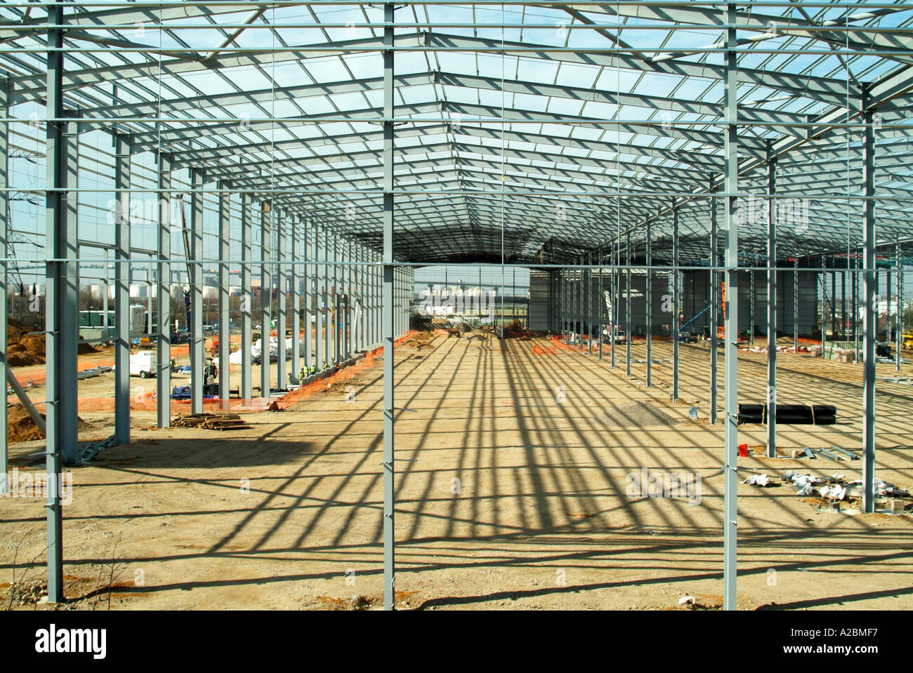 Structural steel frame erected & awaiting installation of concrete ...