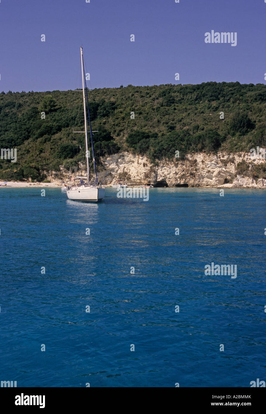 a sailing boat in Antipaxos Island Greece - Stock Image