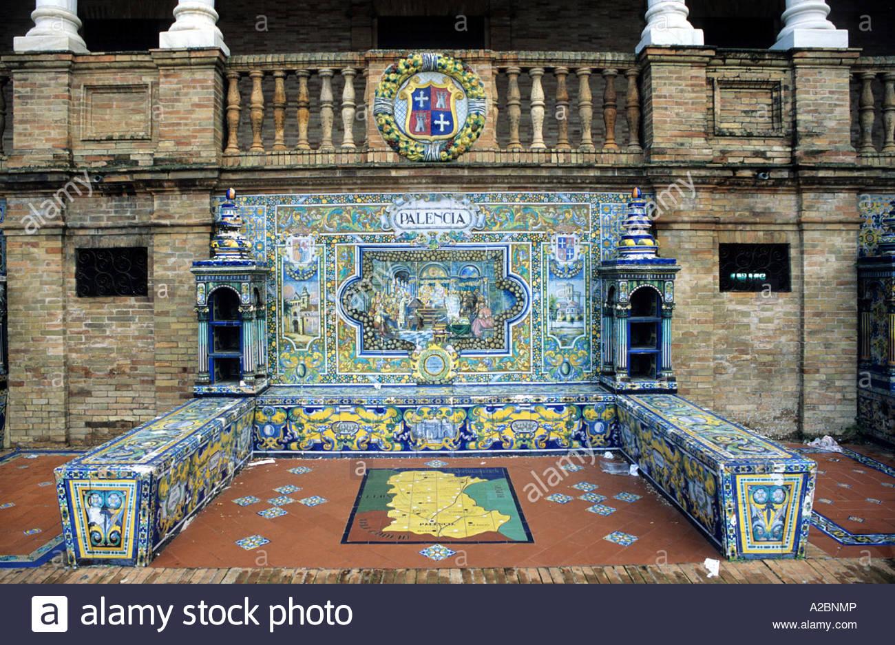 Palencia Province Tiled Picture, Plaza De Espana, Seville, Spain - Stock Image