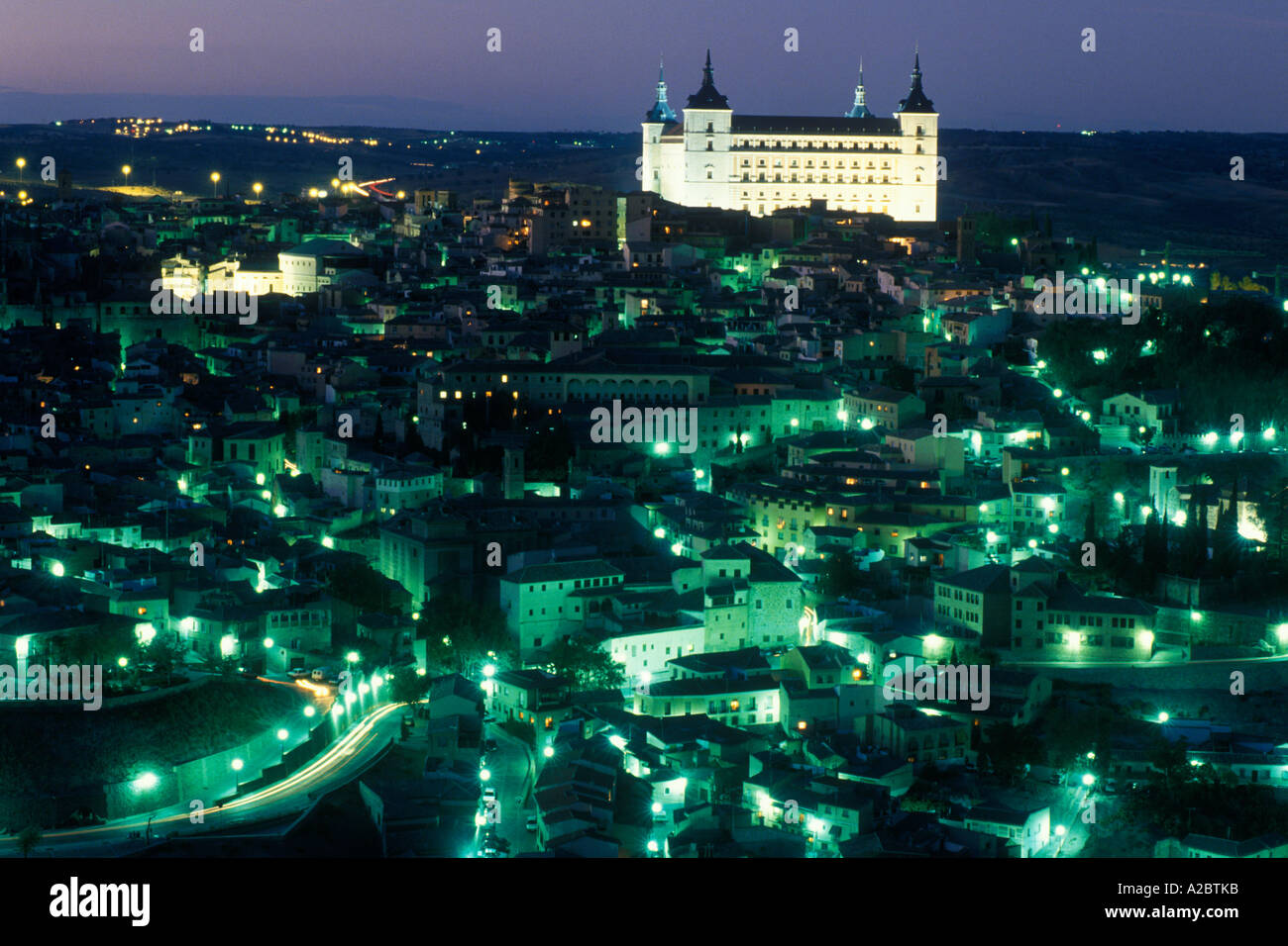 Europe Spain Toledo Spain La Mancha Province of Castilla Castillian The Alcazar Illuminated at Night Stock Photo
