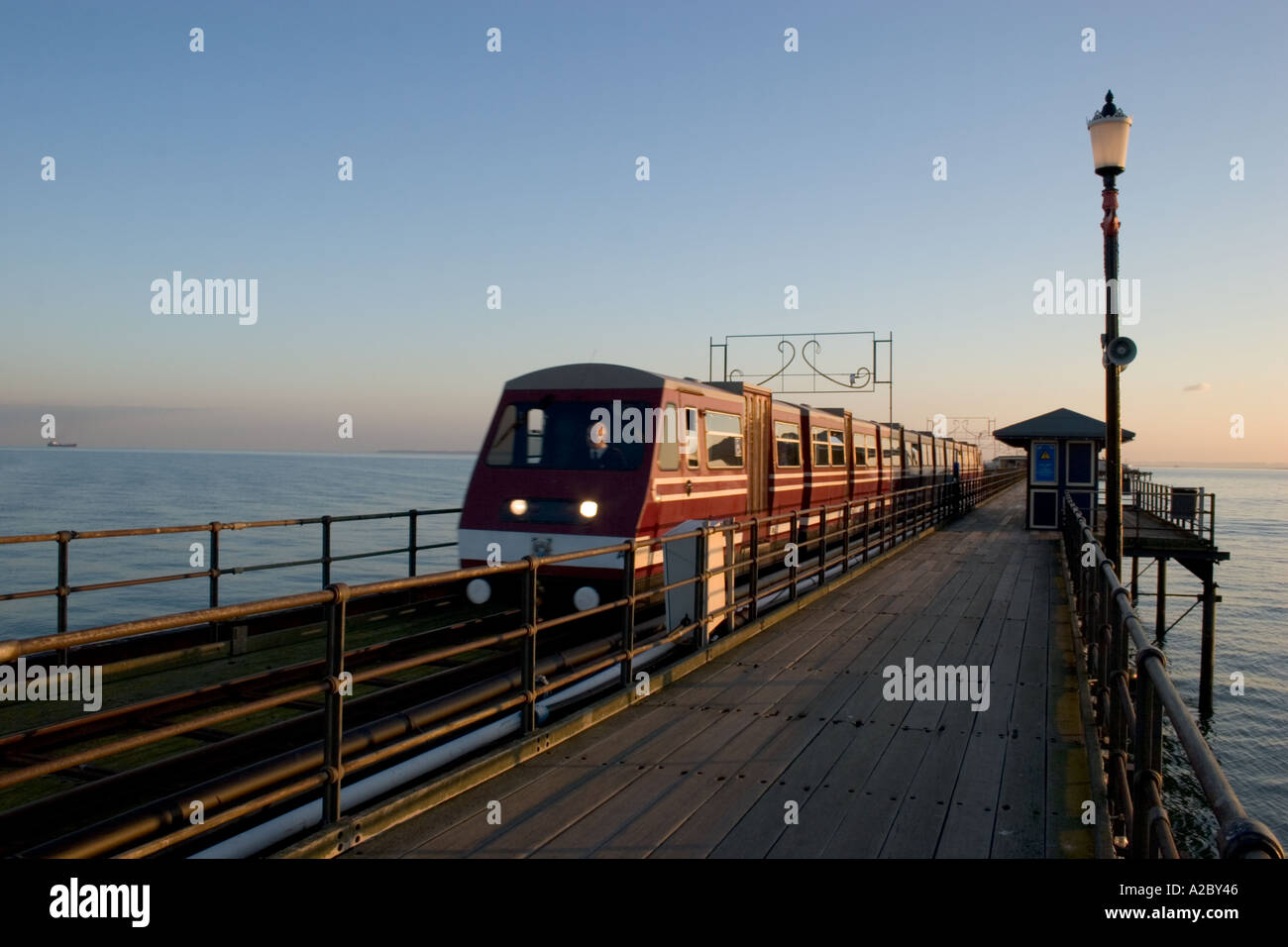 Railway on southend pier Southend on sea Essex - Stock Image