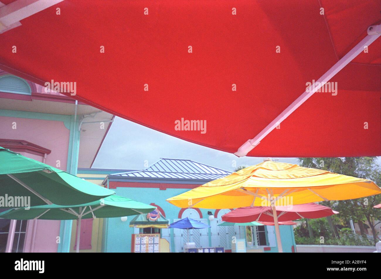 Caribbean Patio With Umbrellas  - Stock Image
