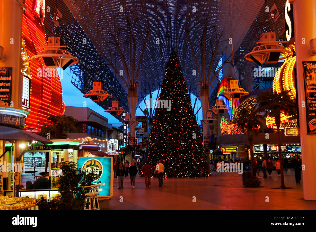 Las Vegas Christmas.The Fremont Street Experience In Downtown Las Vegas During