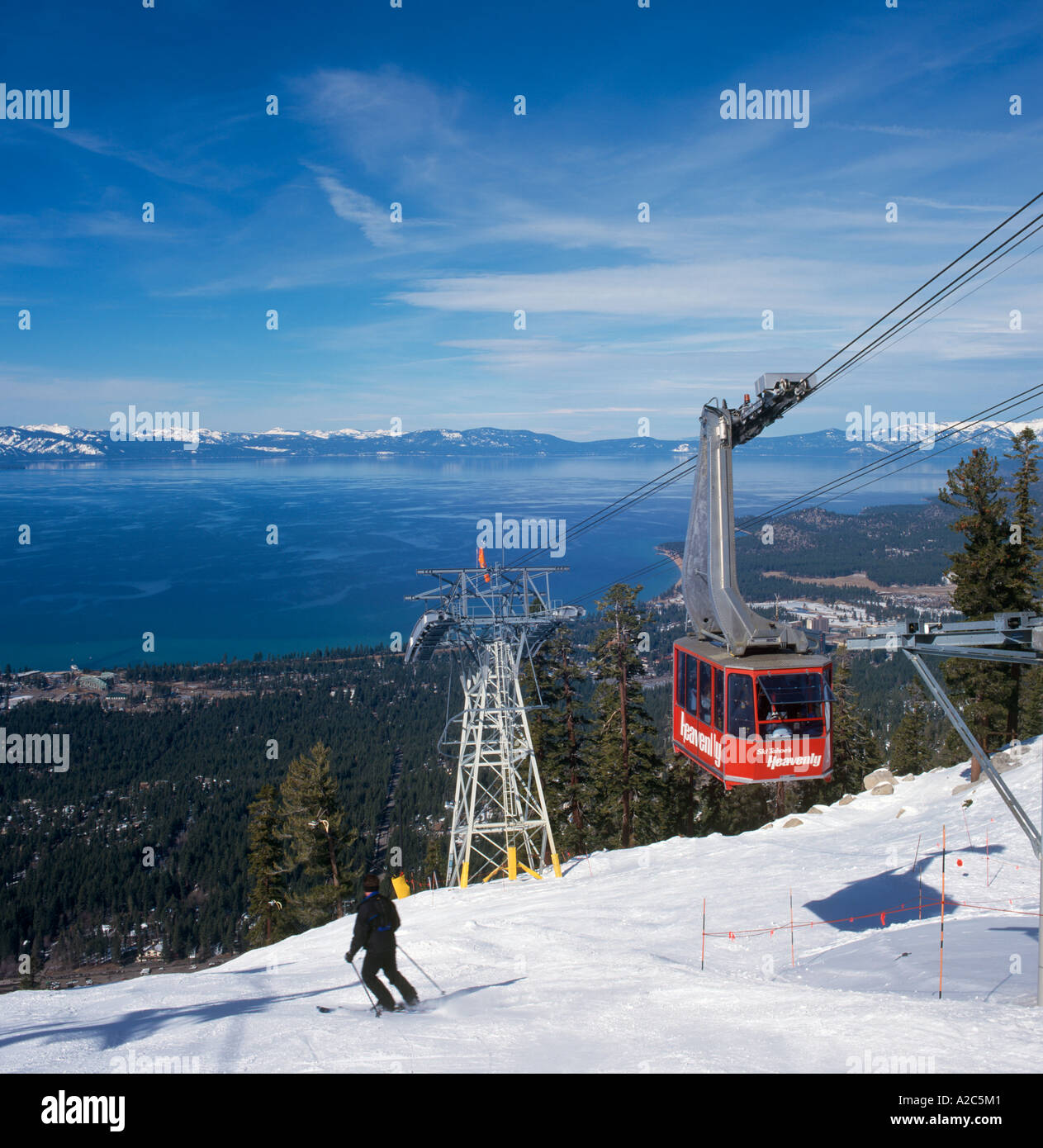 Aerial Tramway at the Heavenly Ski Area, Lake Tahoe, California/Nevada, USA - Stock Image