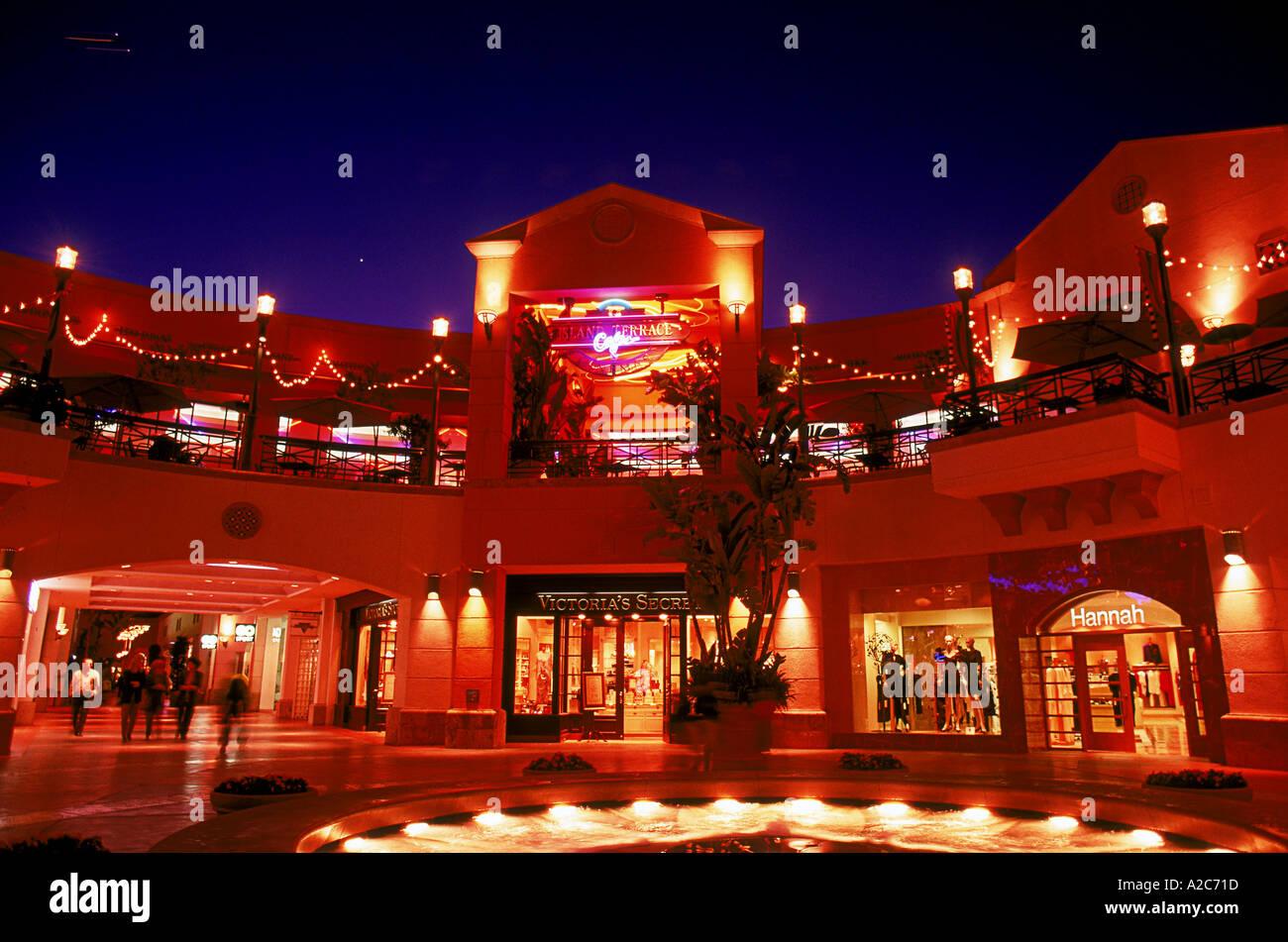 Nighttime view of Fashion Island mall Newport Beach
