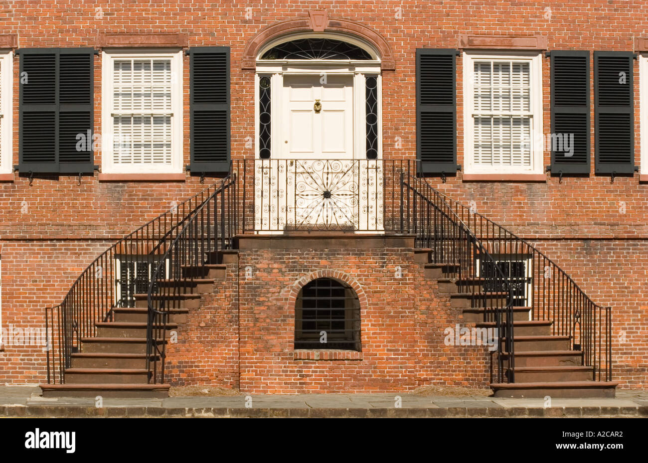 Front door and staircases of the Federal Style Isaiah Davenport House in Columbia Square Savannah - Stock Image