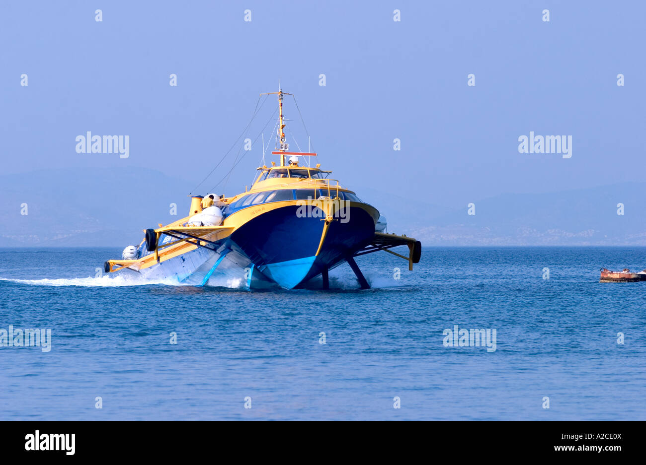 Ultra Speed Boat Catamaran In Dodecanese Islands Greece Stock Photo