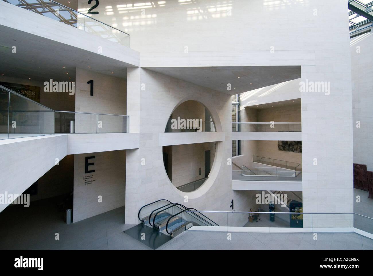 Interior of modern IM Pei Building at Deutsches Historisches Museum ...