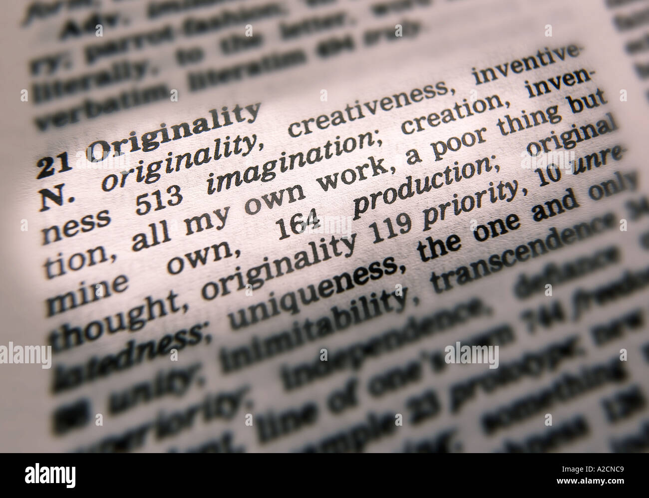 THESAURUS PAGE SHOWING DEFINITION OF WORD ORIGINALITY Stock Photo