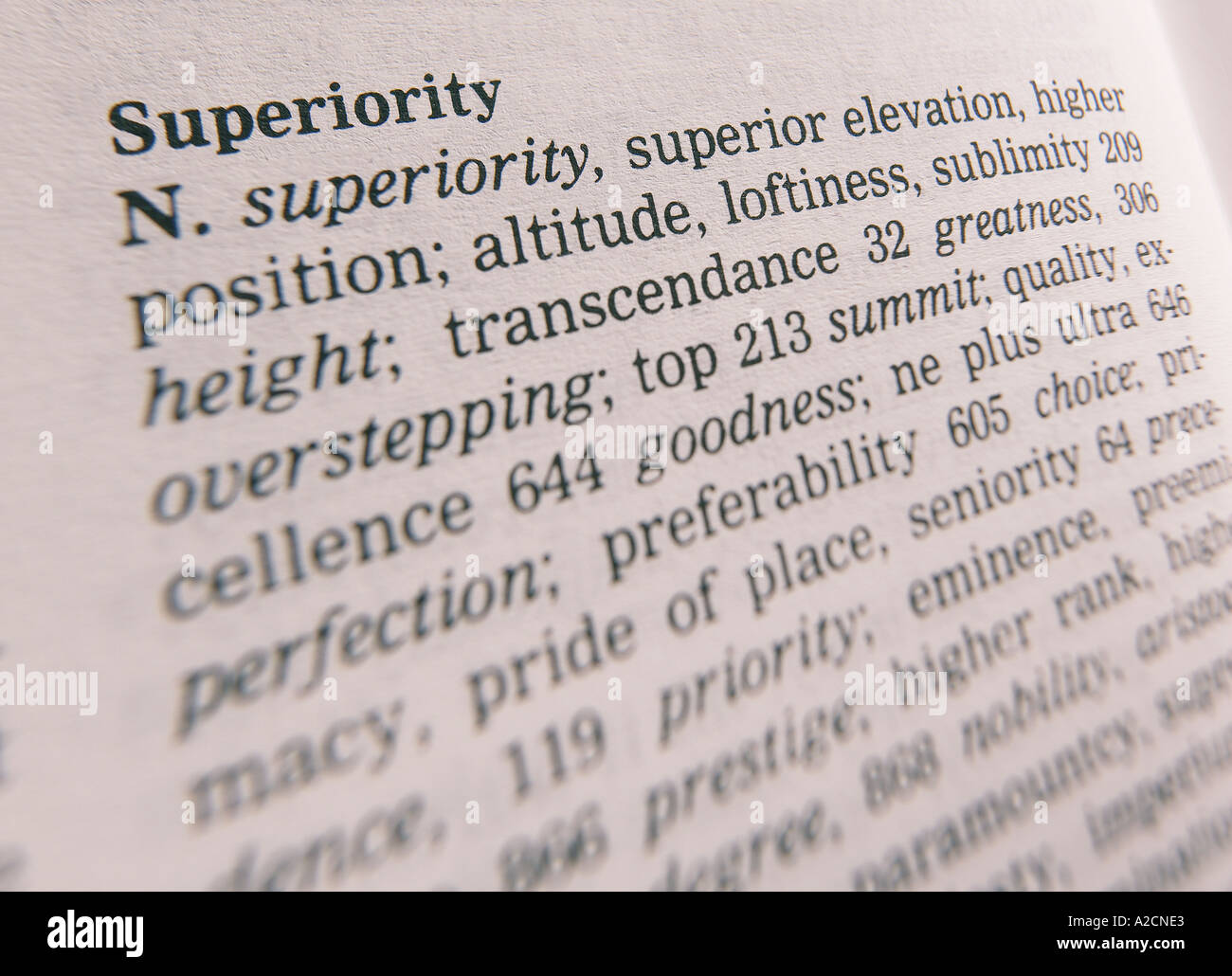 THESAURUS PAGE SHOWING DEFINITION OF WORD SUPERIORITY