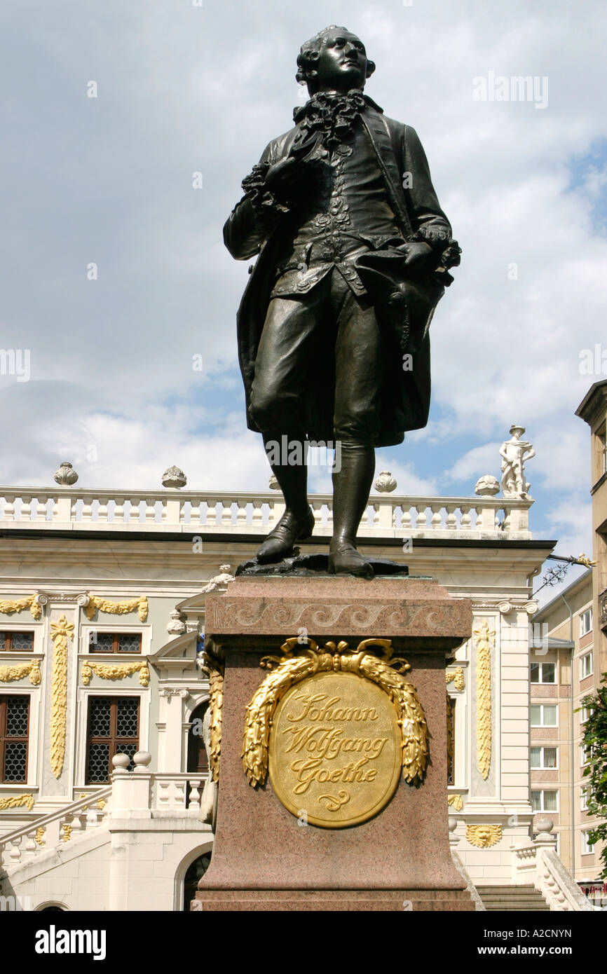 Statue of Johann Wolfgang Goethe in Leipzig , Germany - Stock Image