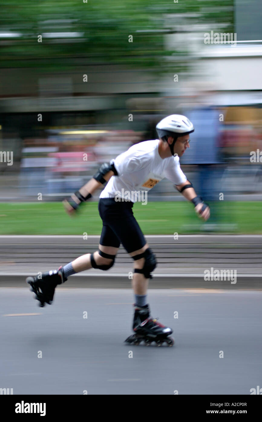 Rollerblading in Berlin , City Night 5th August 2006 Stock Photo