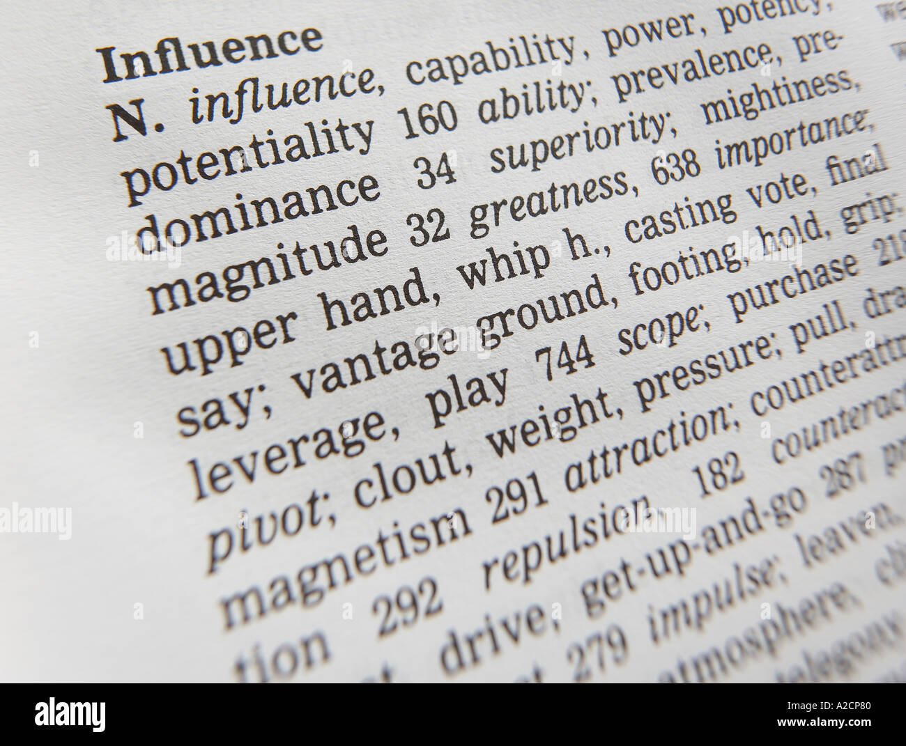 THESAURUS PAGE SHOWING DEFINITION OF WORD INFLUENCE - Stock Image
