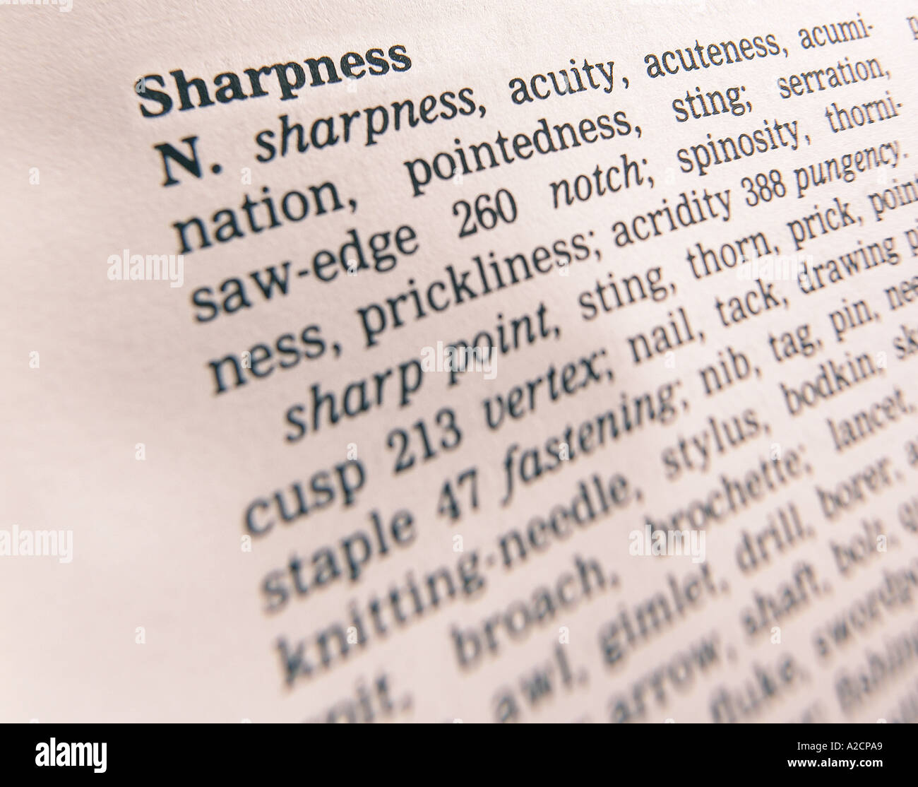 THESAURUS PAGE SHOWING DEFINITION OF WORD SHARPNESS Stock