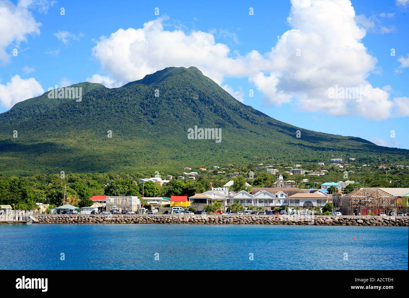 town of charlestown at nevis in the caribbean stock photo: 10482472