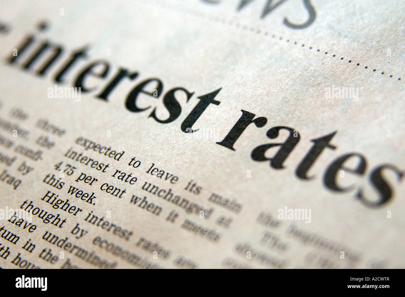 Royalty free photograph of Interest rates business headline in UK financial times - Stock Image
