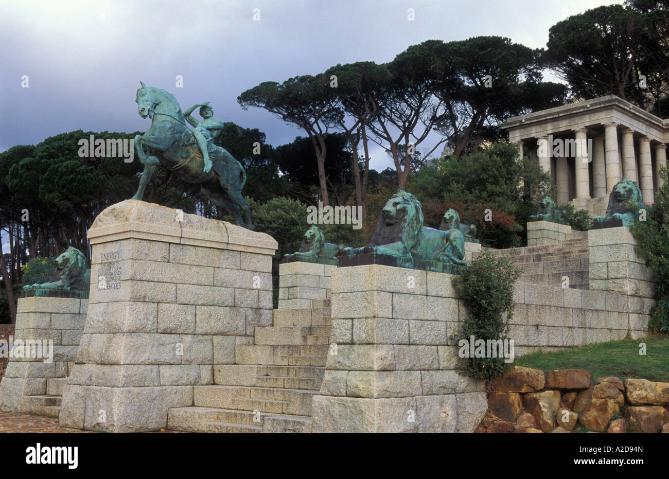 Rhodes memorial granite memorial to Cecil John Rhodes Rondebosch Cape Town South Africa - Stock Image