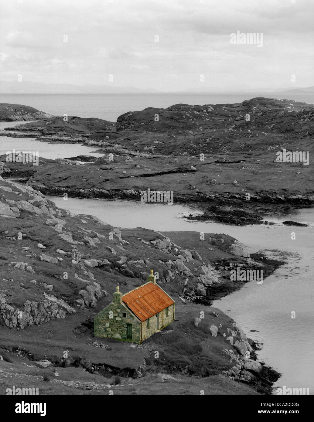 Old House by the shore, Isle of Harris, Western Isles, Scotland Stock Photo