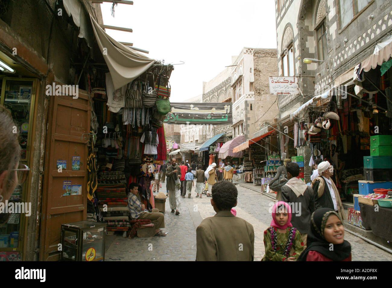 Busy street Sana Yemen - Stock Image