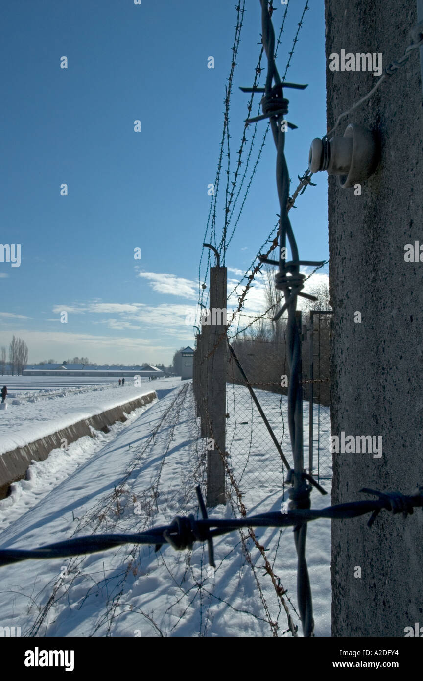 Dachau Concentration Camp. Electric fence and guard tower. Stock Photo