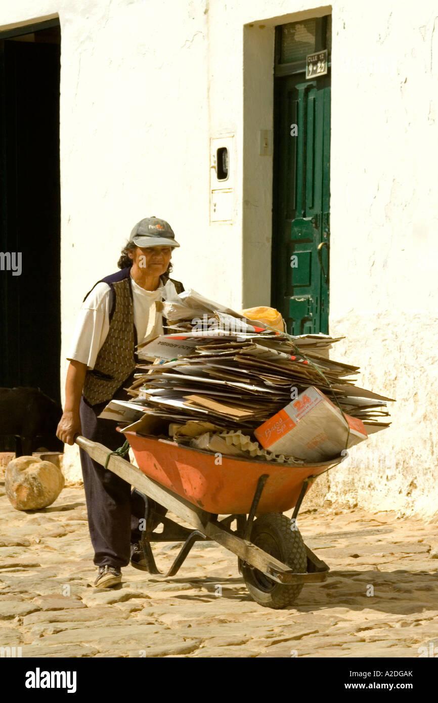 woman working as paper-recycler, Villa de Leyva, Boyacá, Colombia, South America - Stock Image