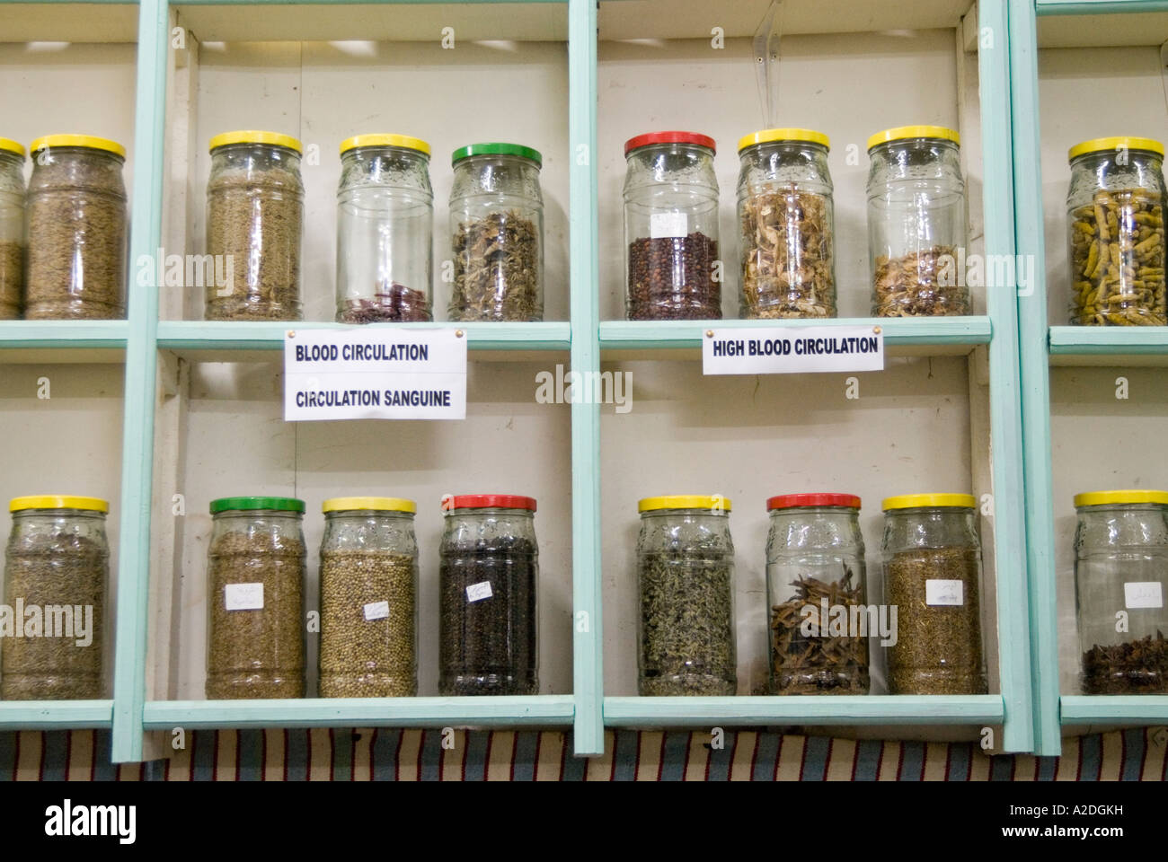 Shop selling herbal remedies and alternative medicines in glass jars in Morocco, Africa - Stock Image