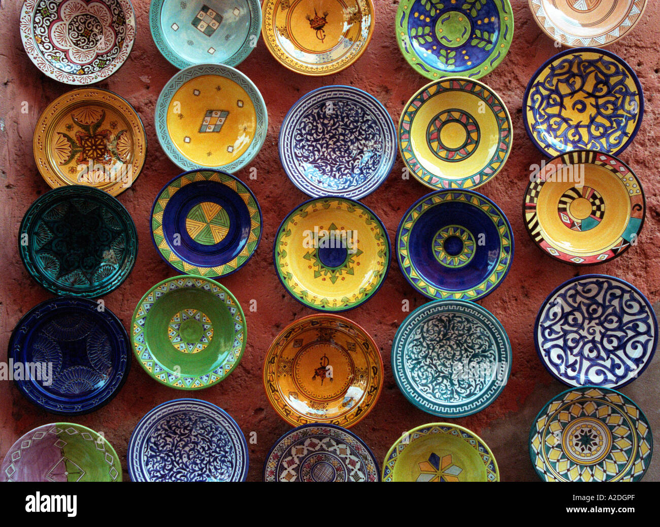 Selection Of 25 Decorated Moroccan Ceramic Plates On A Wall Morocco Stock Photo Alamy