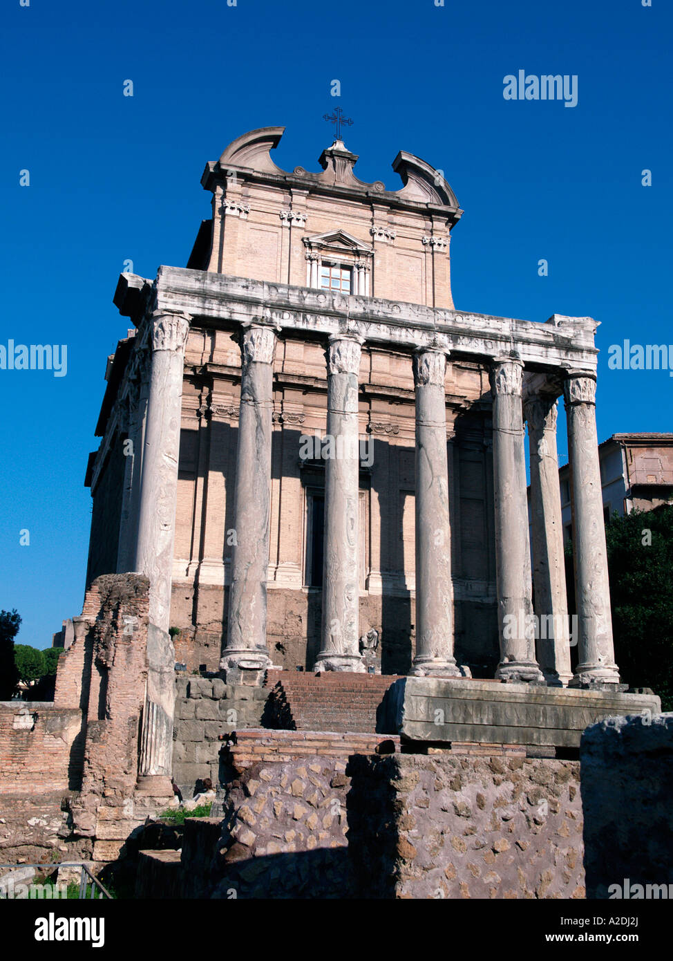 Temple of Anthony and Faustus, Roman Forum, Rome Italy - Stock Image