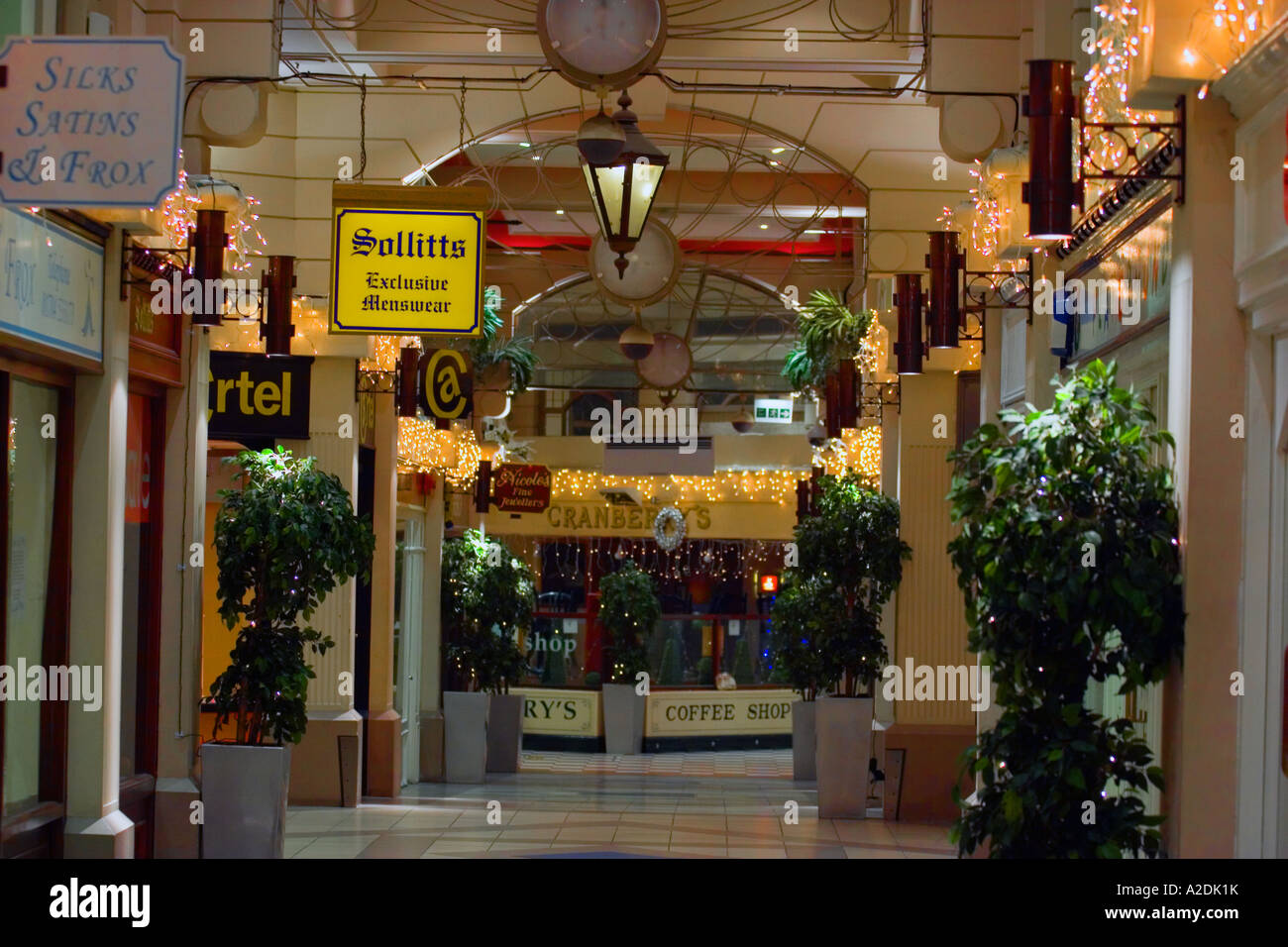 Marble arch retail mall shops to let in Southport, Merseyside, UK. Stock Photo