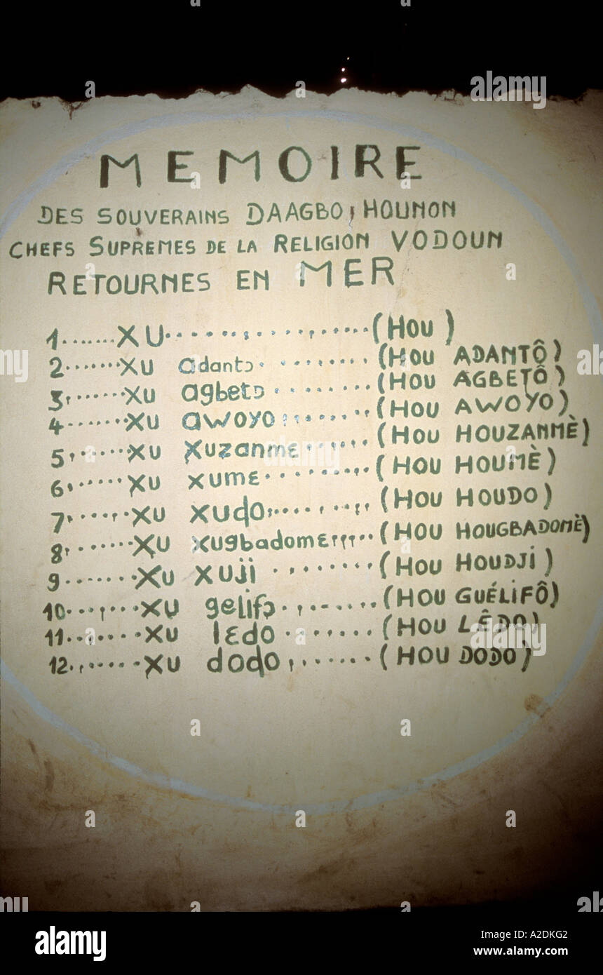 List of Supreme voodoo chiefs on wall painting, Ouidah - Stock Image