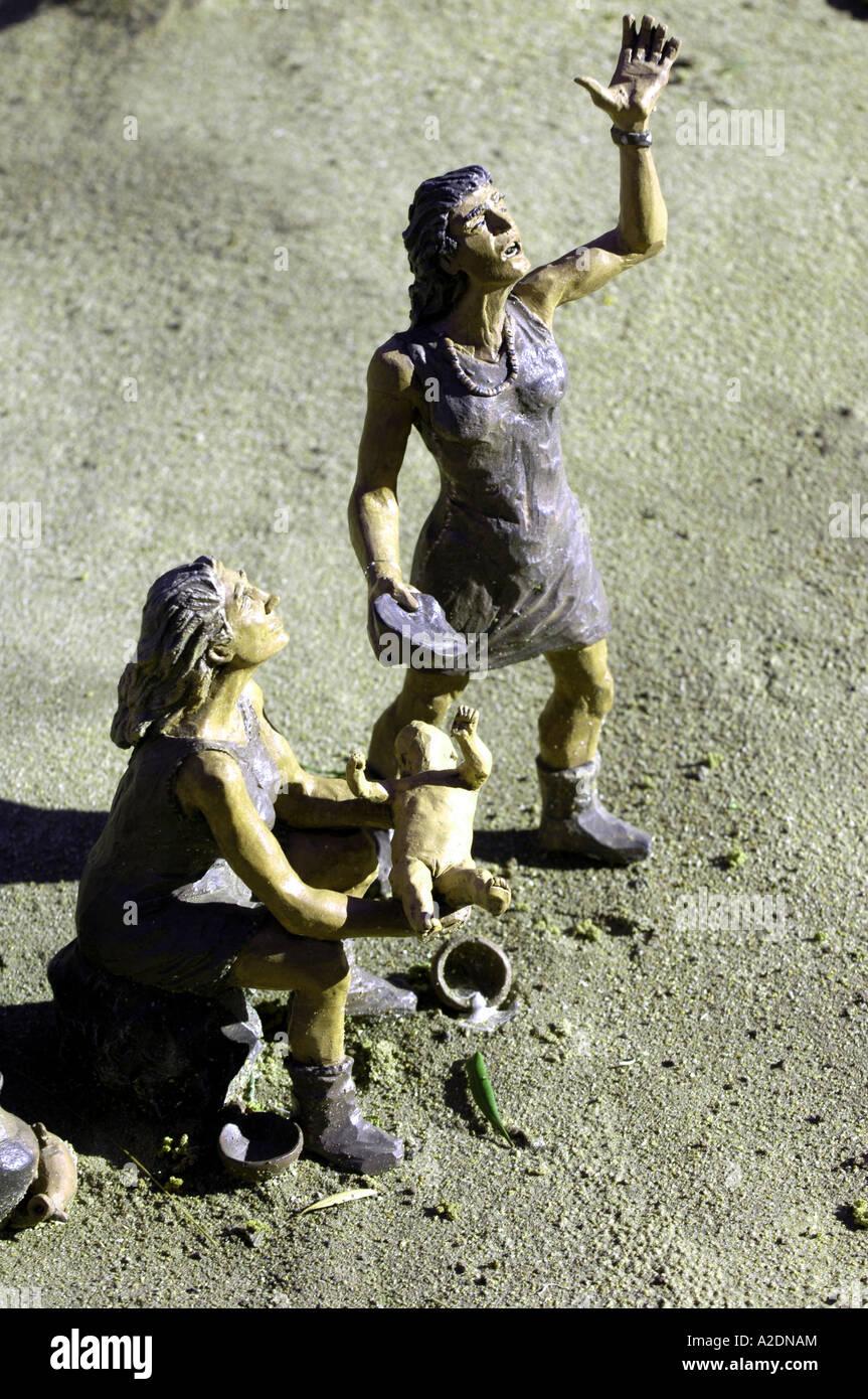 two  tribal rhythm model women woman cavemen caveman prehistory prehistoric pueblo chico canary islands tenerife - Stock Image