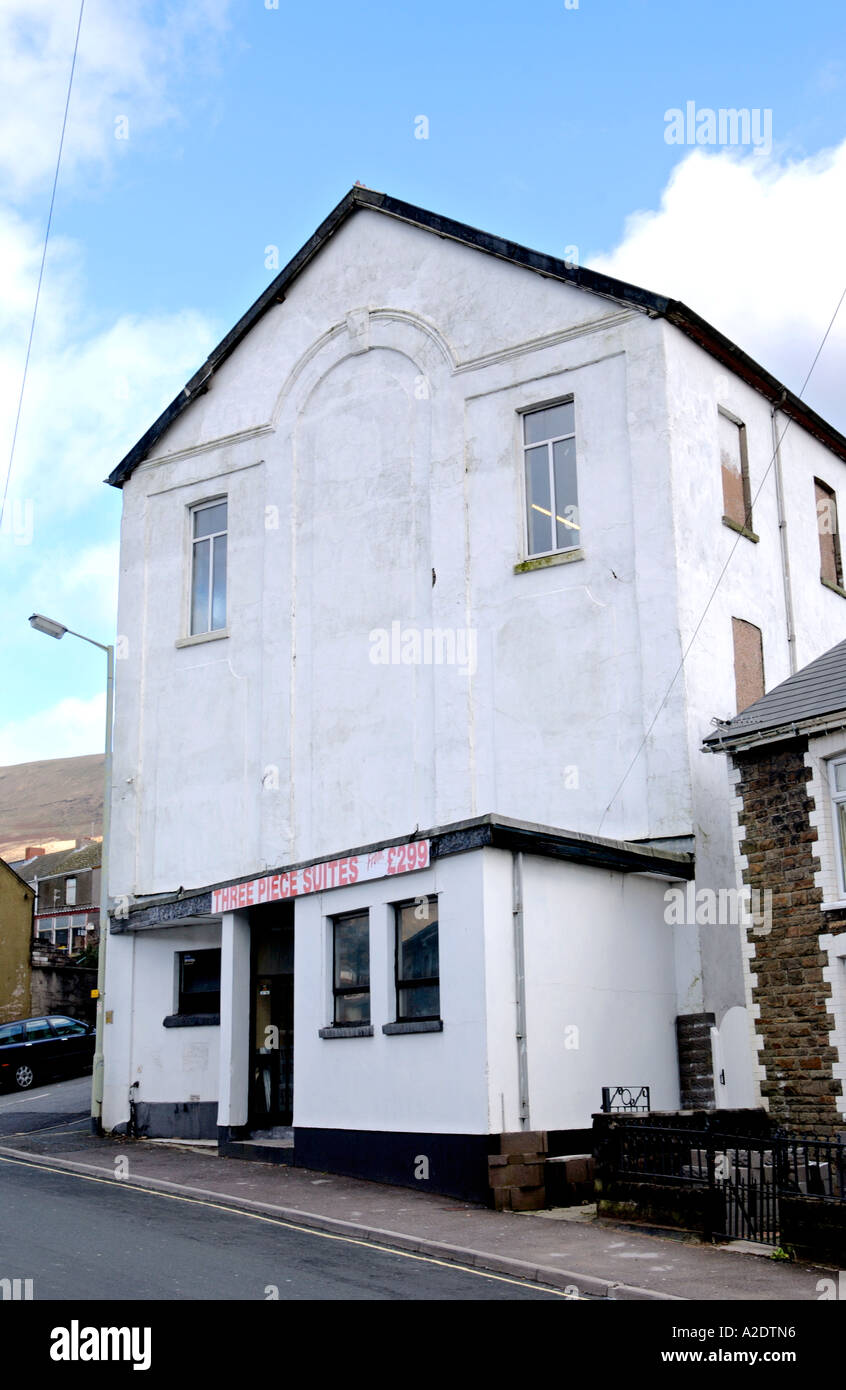 Former chapel now reused as a furniture warehouse in the former coal mining village of Nantymoel Mid Glamorgan South Wales UK - Stock Image