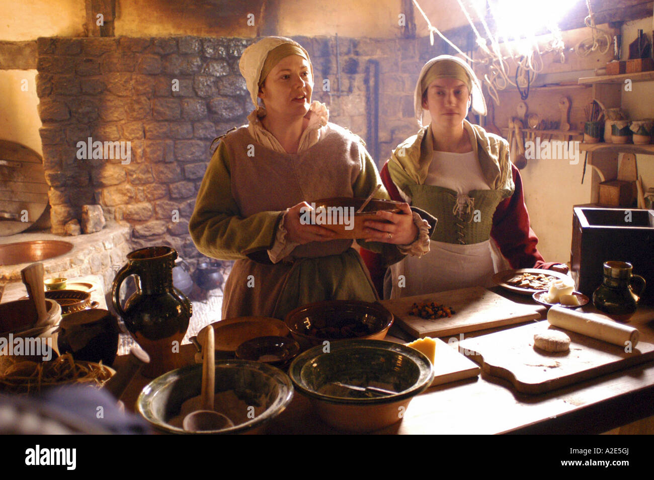 Re enacting the medieval way of life at the Weald and Downland Museum Singleton West Sussex England Picture by Andrew - Stock Image