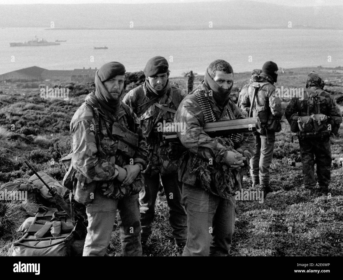 Royal Marines wait to go on patrol from Ajax Bay during the Falklands Conflict in 1982 - Stock Image