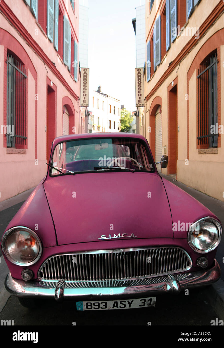 France French Car Colourful Old Fashioned Colonial Pink Purple Simca ...
