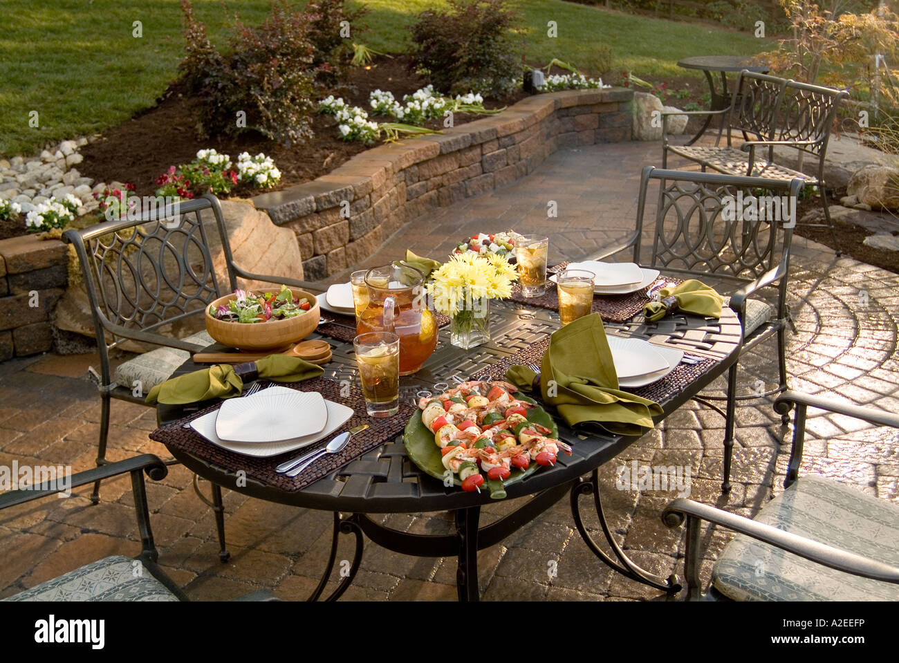 Bon Backyard Patio Deck With Table Of Food For Barbecue Party