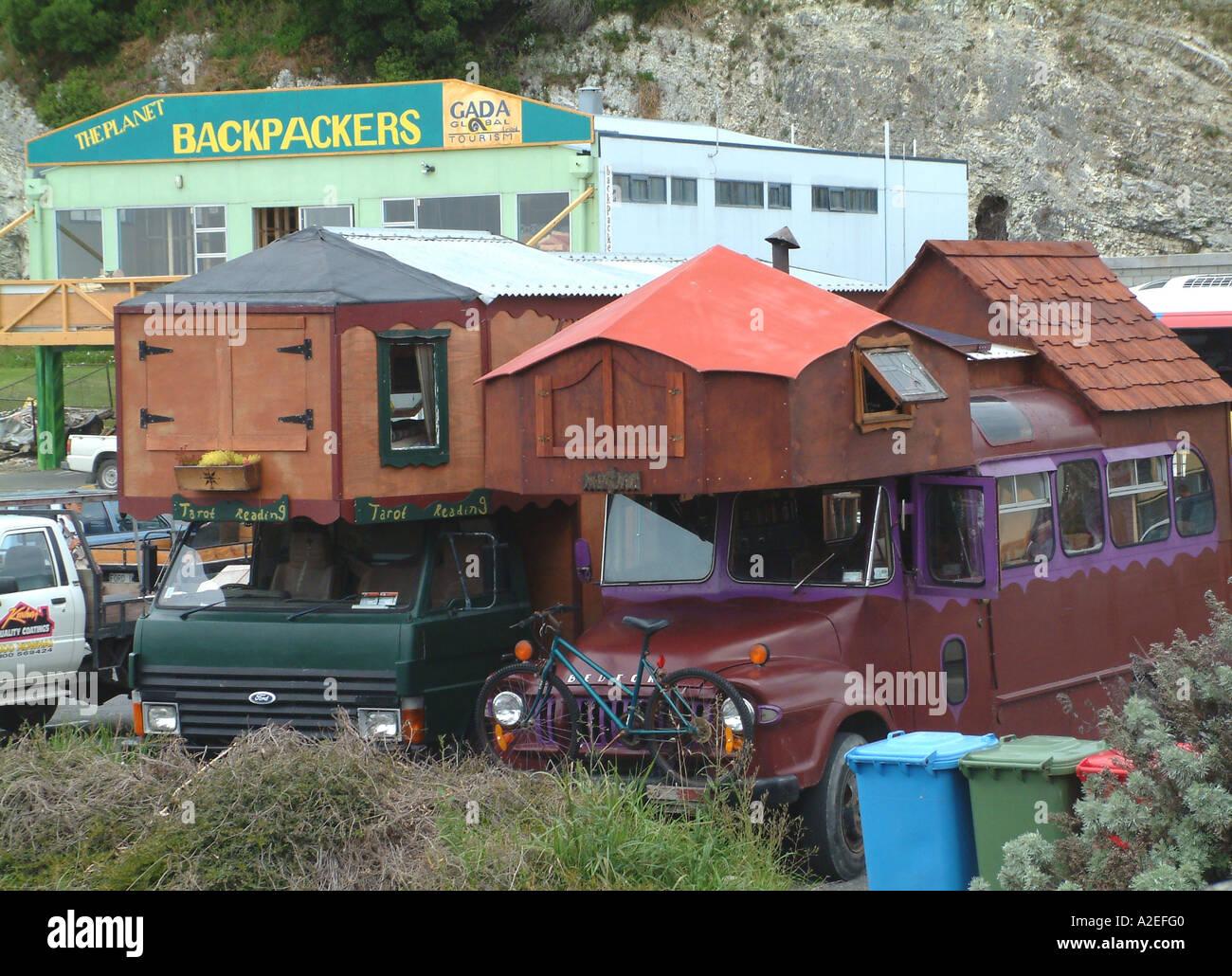 NZ, Kaikoura. Caravans. Stock Photo