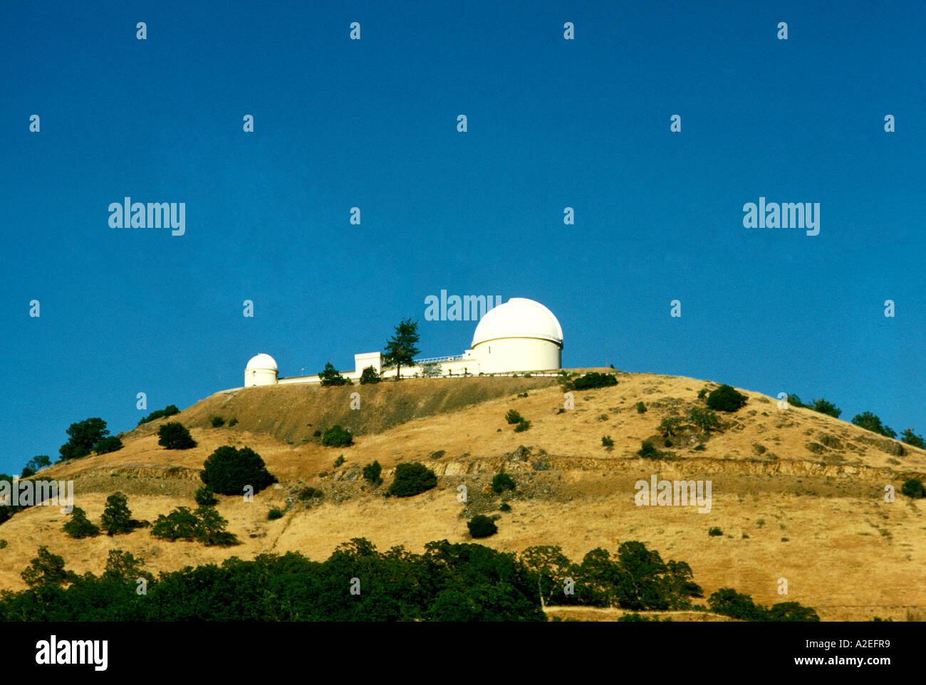 California San Jose Lick Observatory on hill overlooking San Jose - Stock Image