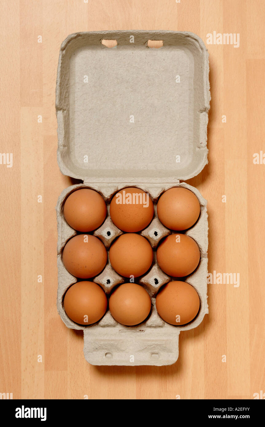 Box of 9 eggs - Stock Image