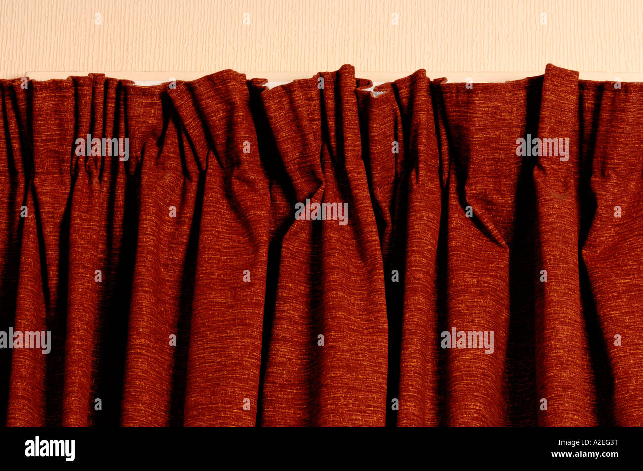 Pleated curtain top - Stock Image