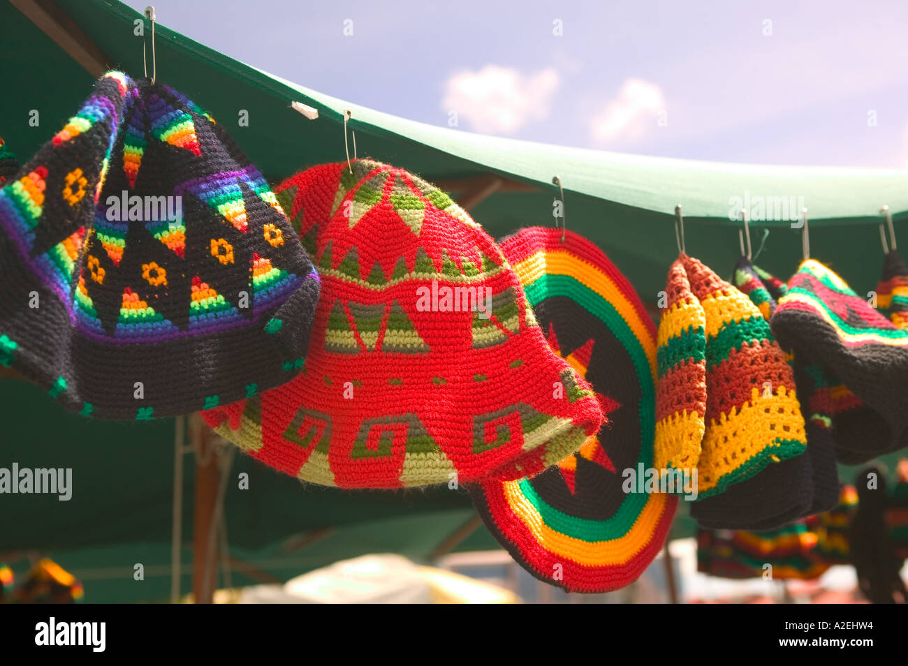 BARBADOS, Bridgetown, Knit Hats, Chamberlain Bridge Tourist Market - Stock Image