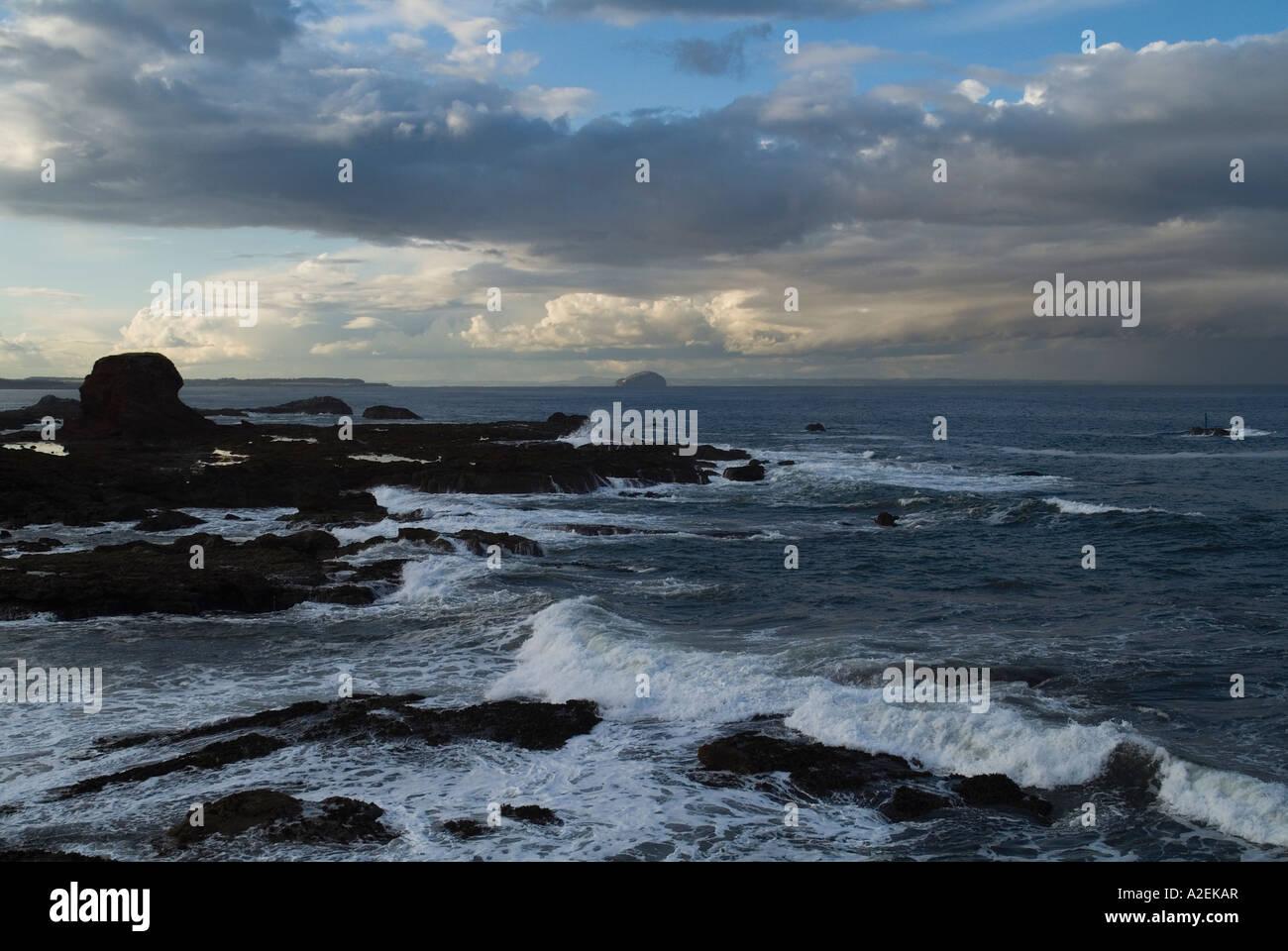 dh Firth of Forth DUNBAR LOTHIAN Scotland North Sea stormy wind waves coast and Bass Rock scottish shore storm crashing seacoast winds Stock Photo