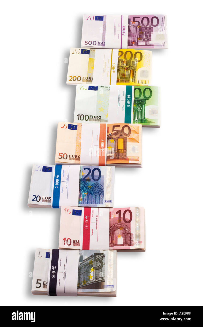 Bunches of Euro notes - Stock Image