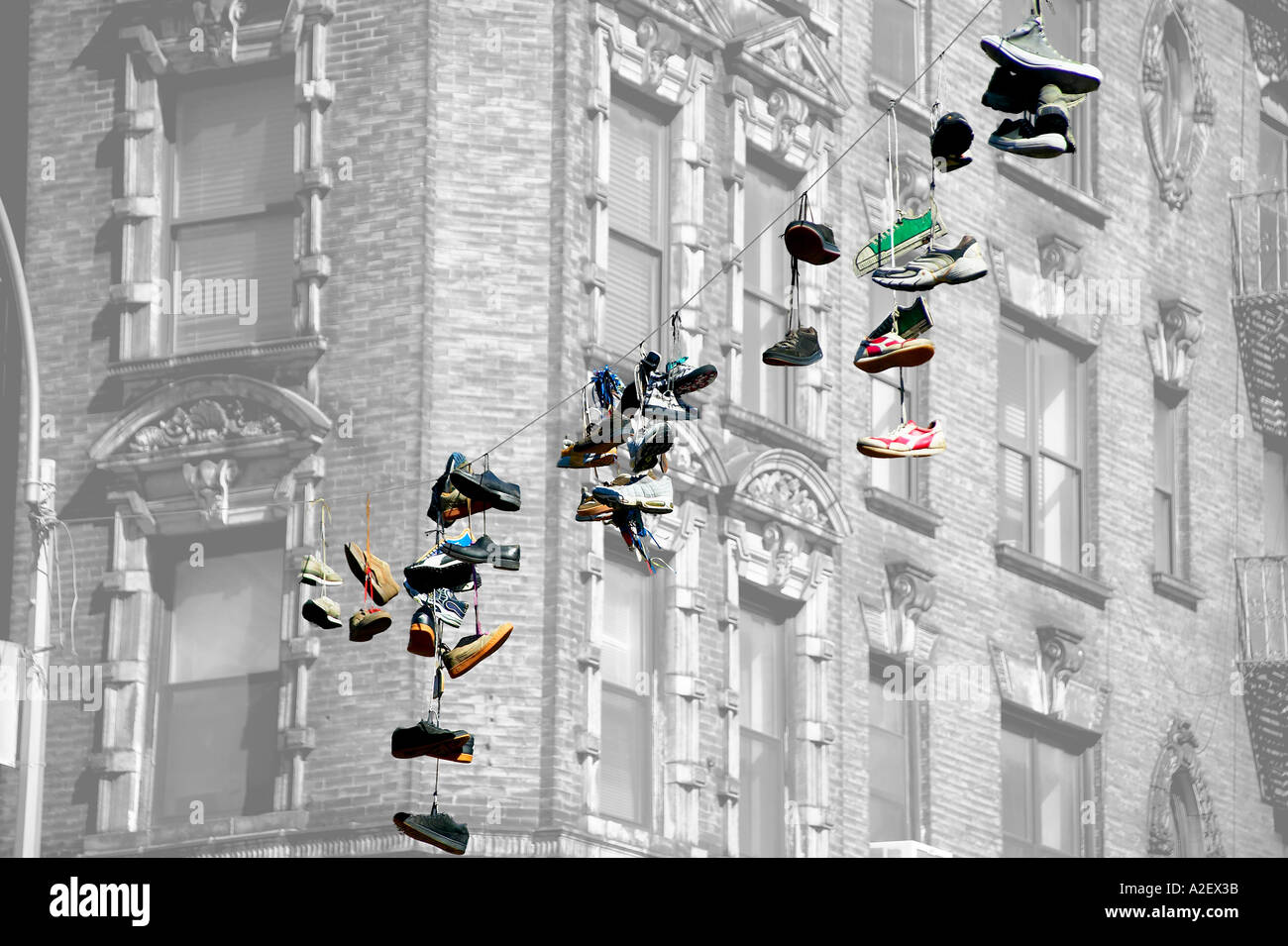 Sneakers Hanging Telephone Wire Stock Photos & Sneakers Hanging ...