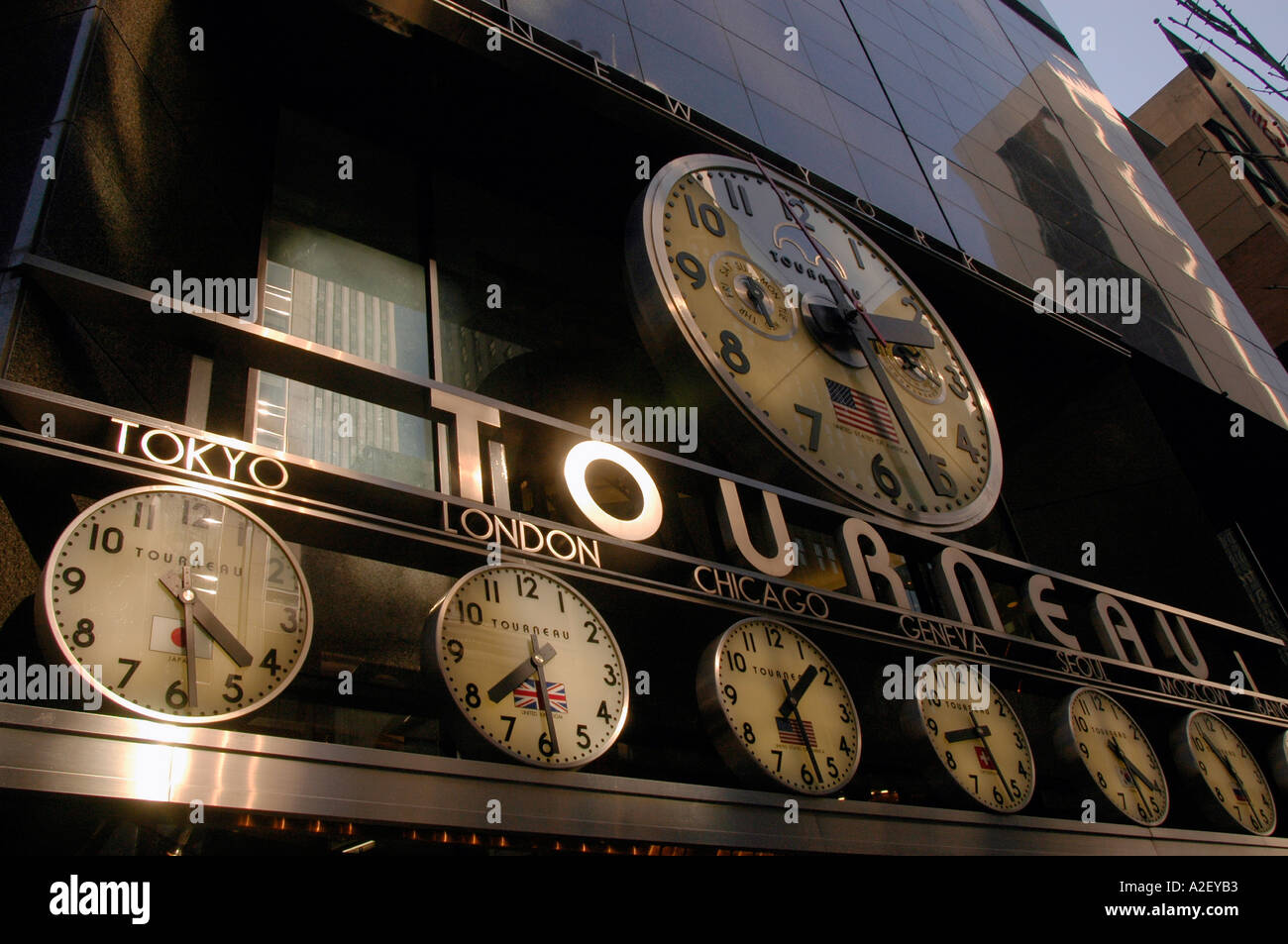 Clocks showing times in various parts of the world at the Tourneau