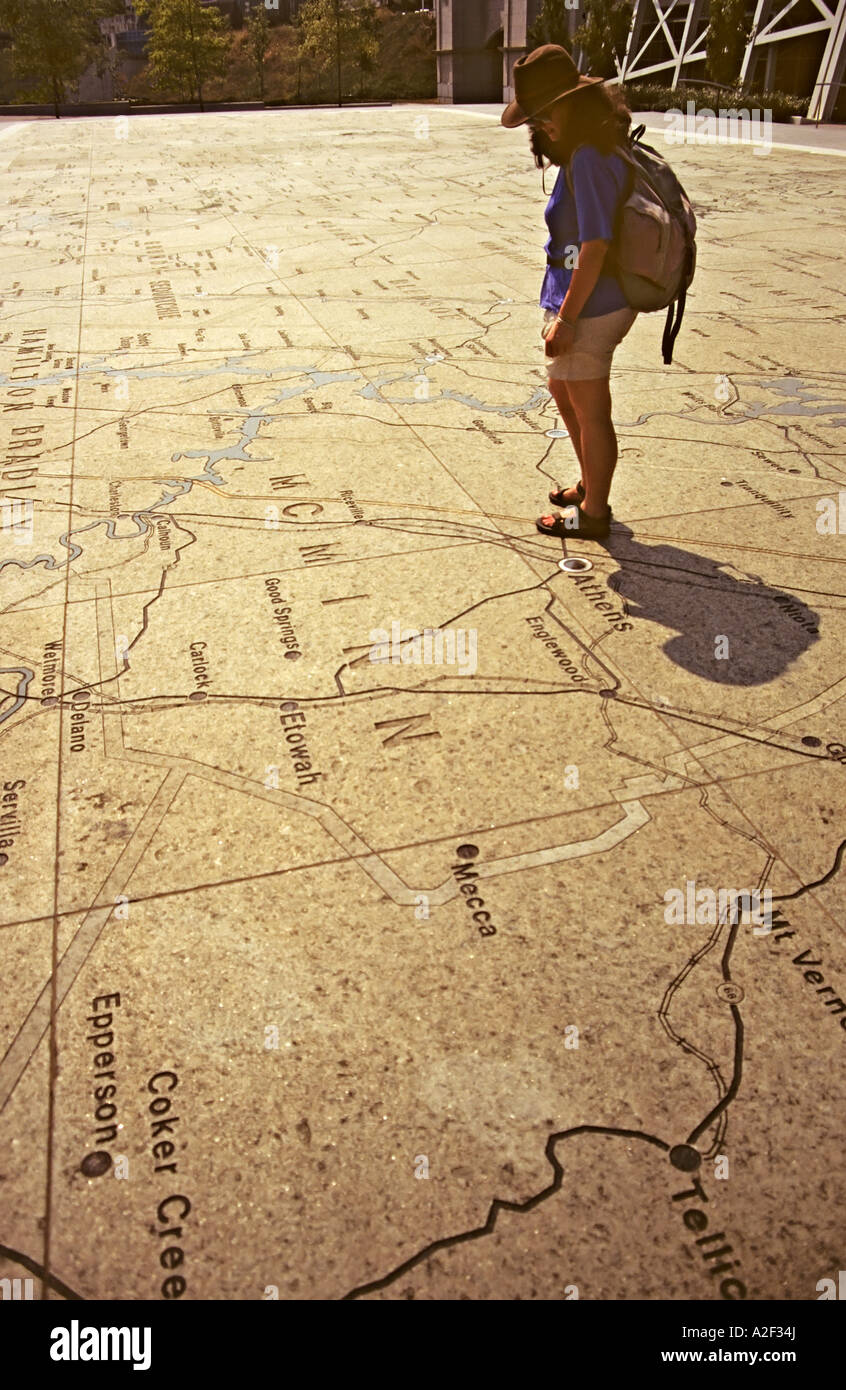 Map of Tennessee carved in granite in Tennessee Map Plaza Bicentennial Capitol Mall State Park Nashville USA - Stock Image