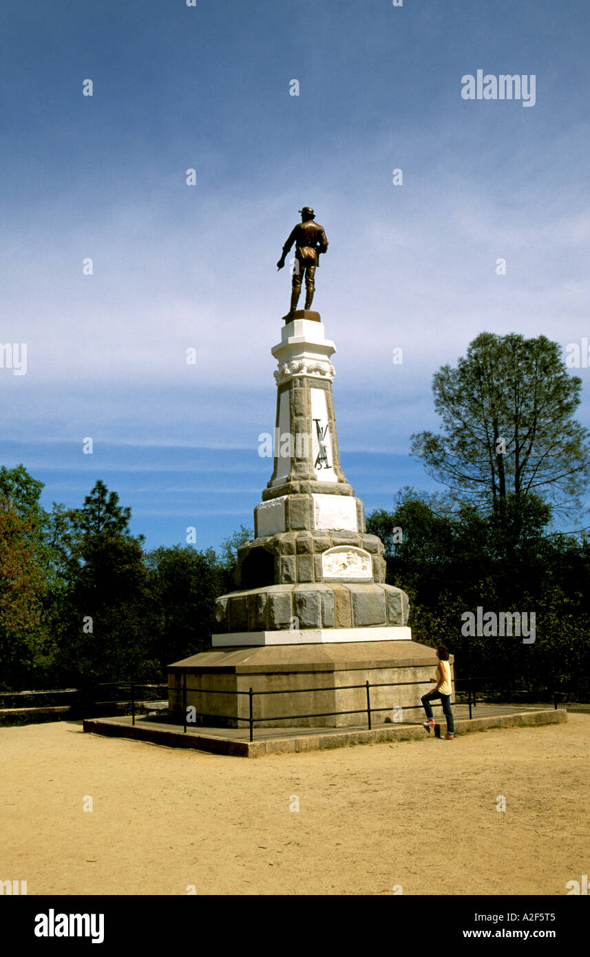 California Gold Country James Marshall statue at Coloma Gold Discovery site - Stock Image