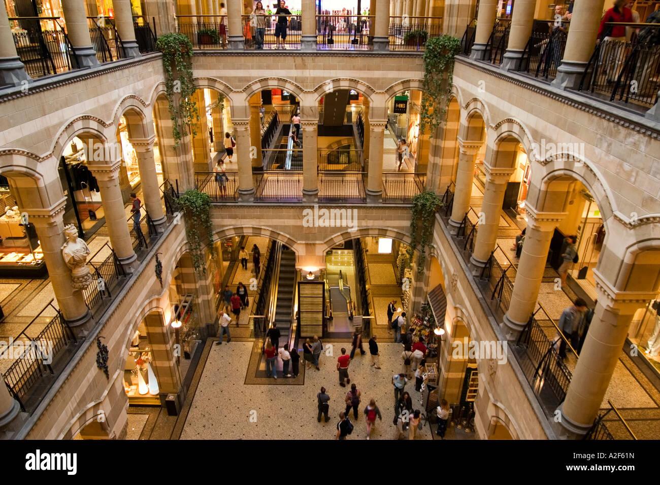 Amsterdam Magna Plaza shopping center Atrium - Stock Image